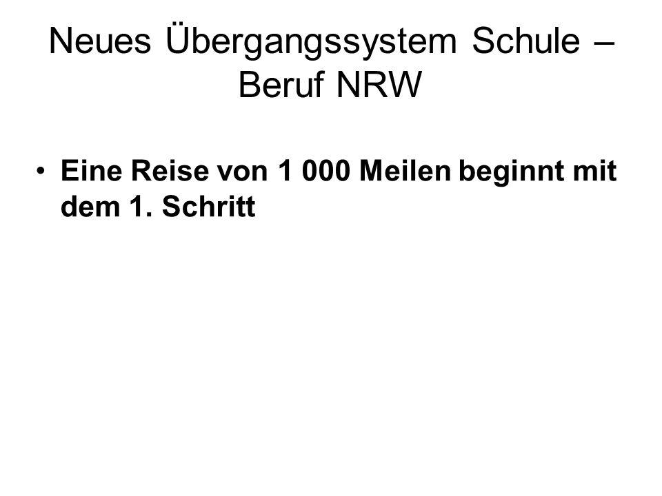 Neues Übergangssystem Schule – Beruf NRW Eine Reise von 1 000 Meilen beginnt mit dem 1. Schritt