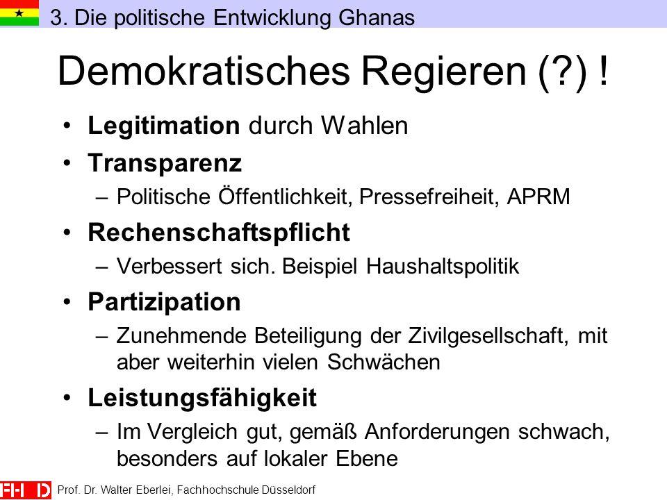 Demokratisches Regieren (?) ! Legitimation durch Wahlen Transparenz –Politische Öffentlichkeit, Pressefreiheit, APRM Rechenschaftspflicht –Verbessert