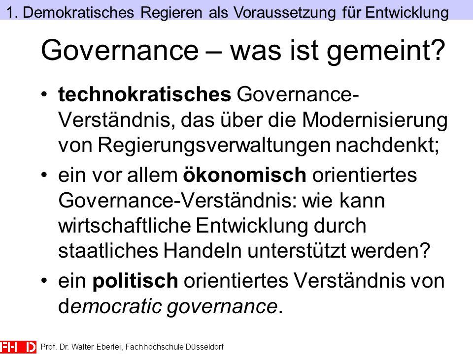 Prof. Dr. Walter Eberlei, Fachhochschule Düsseldorf Governance – was ist gemeint? technokratisches Governance- Verständnis, das über die Modernisierun