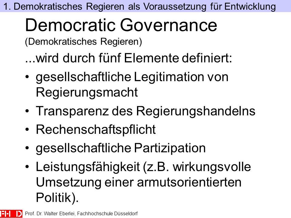 Prof. Dr. Walter Eberlei, Fachhochschule Düsseldorf Democratic Governance (Demokratisches Regieren)...wird durch fünf Elemente definiert: gesellschaft