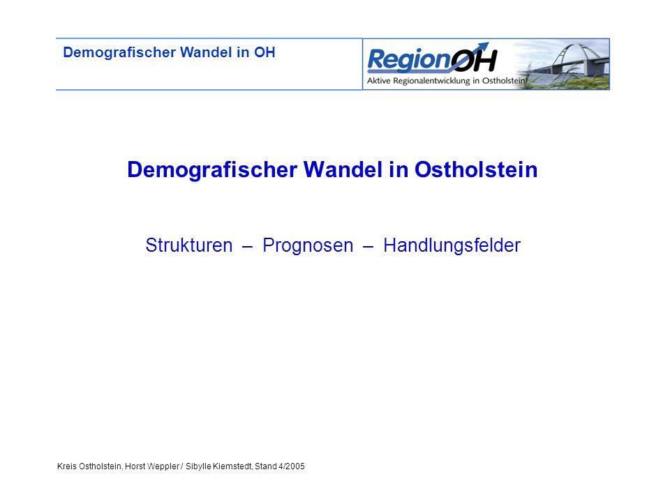 Kreis Ostholstein, Horst Weppler / Sibylle Kiemstedt, Stand 4/2005 Demografischer Wandel in OH Demografischer Wandel in Ostholstein Strukturen – Progn