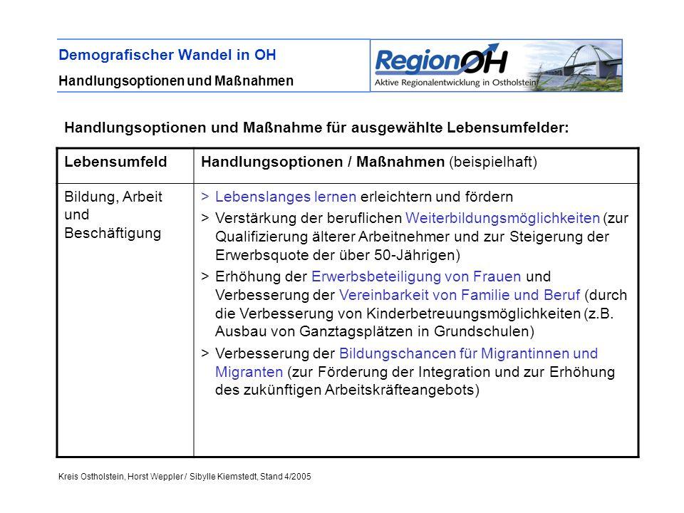 Kreis Ostholstein, Horst Weppler / Sibylle Kiemstedt, Stand 4/2005 Demografischer Wandel in OH Handlungsoptionen und Maßnahmen LebensumfeldHandlungsop