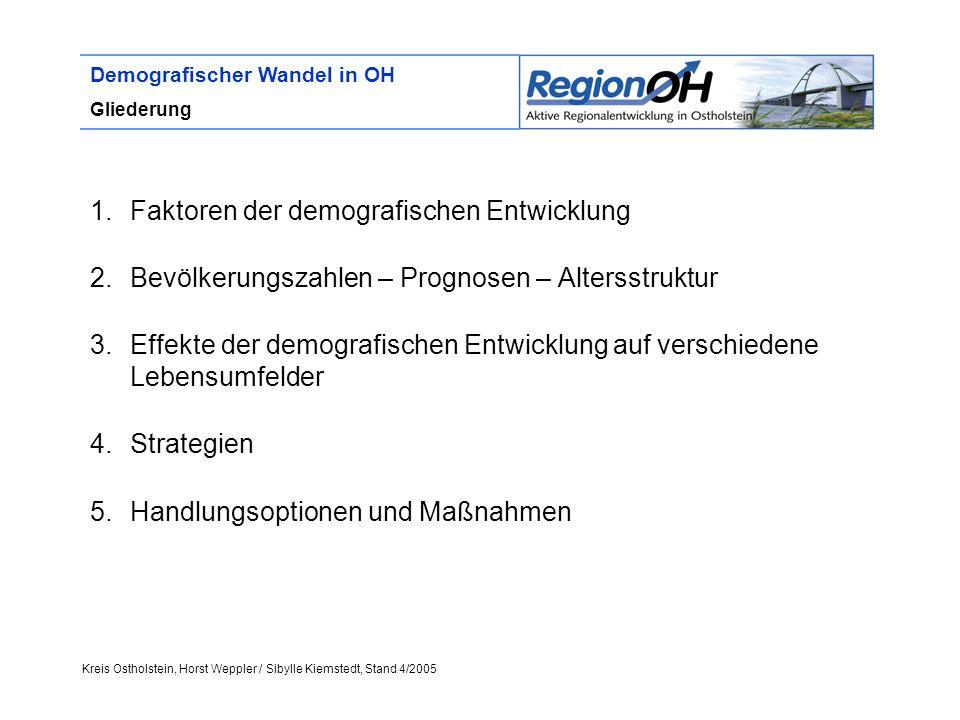 Kreis Ostholstein, Horst Weppler / Sibylle Kiemstedt, Stand 4/2005 Demografischer Wandel in OH Gliederung 1.Faktoren der demografischen Entwicklung 2.