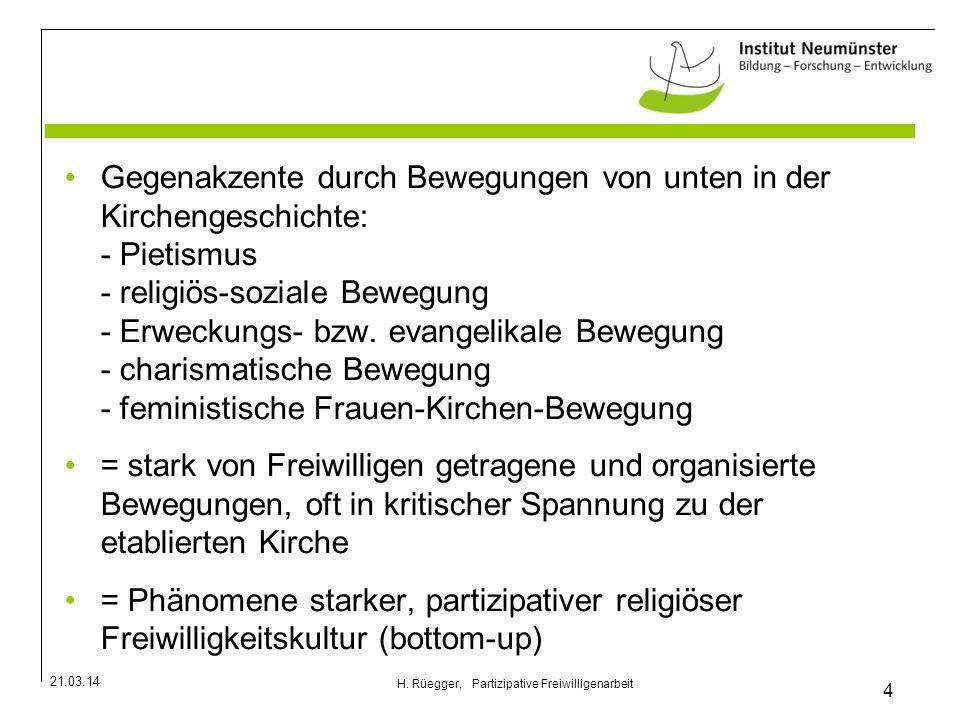 21.03.14 4 H. Rüegger, Partizipative Freiwilligenarbeit Gegenakzente durch Bewegungen von unten in der Kirchengeschichte: - Pietismus - religiös-sozia