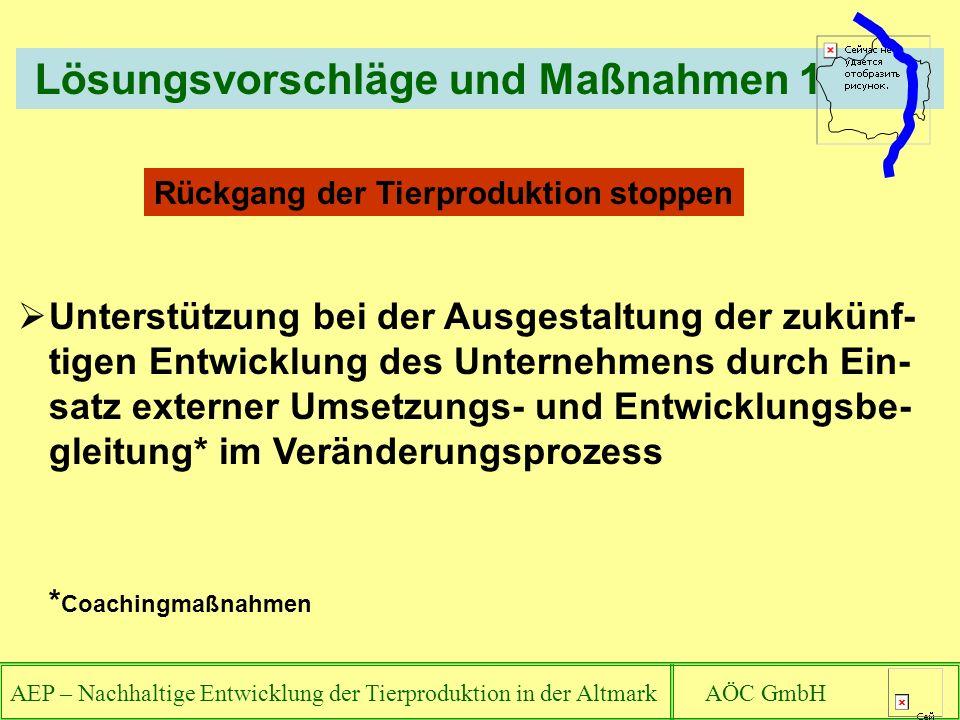 AEP – Nachhaltige Entwicklung der Tierproduktion in der Altmark AÖC GmbH Rückgang der Tierproduktion stoppen Lösungsvorschläge und Maßnahmen 1 Unterst