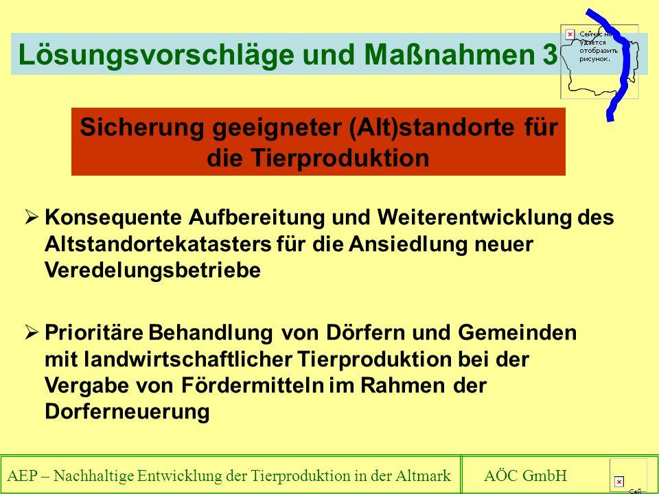 AEP – Nachhaltige Entwicklung der Tierproduktion in der Altmark AÖC GmbH Lösungsvorschläge und Maßnahmen 3 Konsequente Aufbereitung und Weiterentwickl