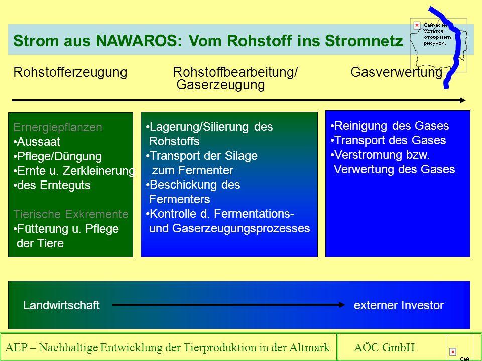 AEP – Nachhaltige Entwicklung der Tierproduktion in der Altmark AÖC GmbH Rohstofferzeugung Rohstoffbearbeitung/Gasverwertung Gaserzeugung Ernergiepflanzen Aussaat Pflege/Düngung Ernte u.