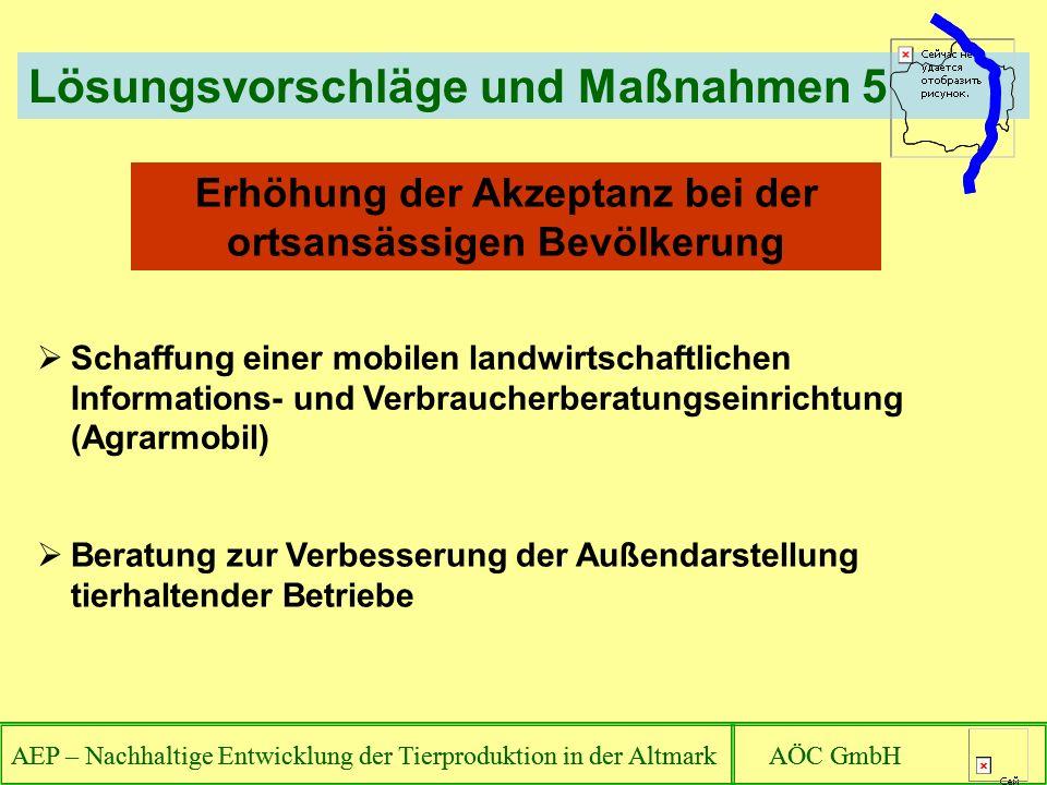 AEP – Nachhaltige Entwicklung der Tierproduktion in der Altmark AÖC GmbH Lösungsvorschläge und Maßnahmen 5 AEP – Nachhaltige Entwicklung der Tierprodu