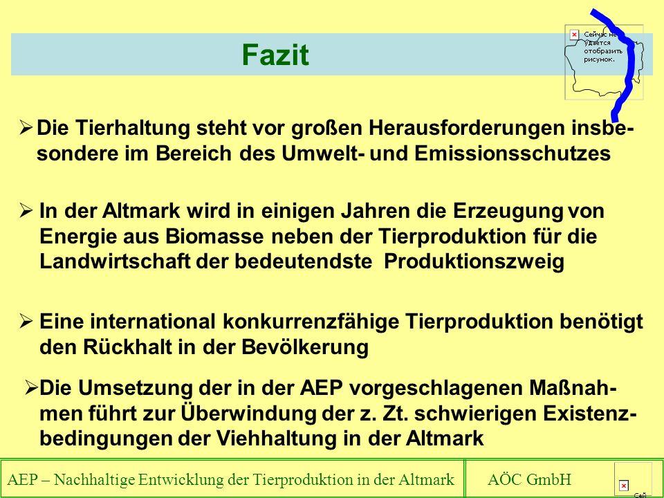 AEP – Nachhaltige Entwicklung der Tierproduktion in der Altmark AÖC GmbH Fazit Die Tierhaltung steht vor großen Herausforderungen insbe- sondere im Bereich des Umwelt- und Emissionsschutzes In der Altmark wird in einigen Jahren die Erzeugung von Energie aus Biomasse neben der Tierproduktion für die Landwirtschaft der bedeutendste Produktionszweig Eine international konkurrenzfähige Tierproduktion benötigt den Rückhalt in der Bevölkerung Die Umsetzung der in der AEP vorgeschlagenen Maßnah- men führt zur Überwindung der z.
