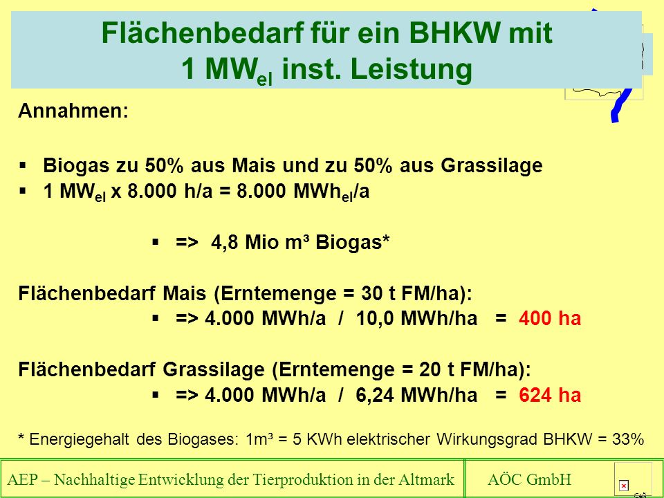 AEP – Nachhaltige Entwicklung der Tierproduktion in der Altmark AÖC GmbH Flächenbedarf für ein BHKW mit 1 MW el inst. Leistung Annahmen: Biogas zu 50%