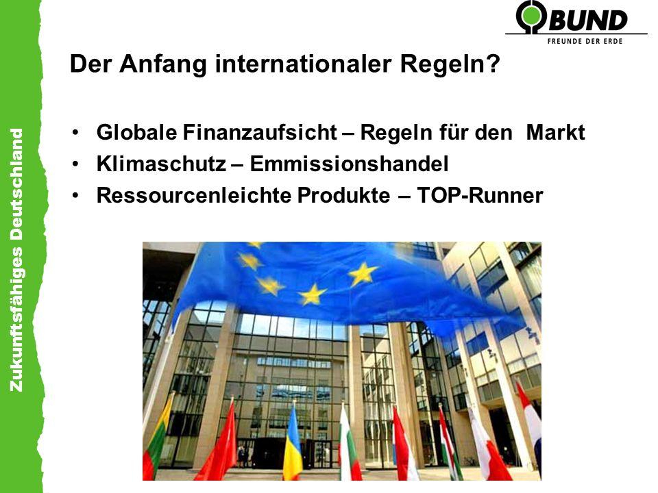 Zukunftsfähiges Deutschland Der Anfang internationaler Regeln? Globale Finanzaufsicht – Regeln für den Markt Klimaschutz – Emmissionshandel Ressourcen