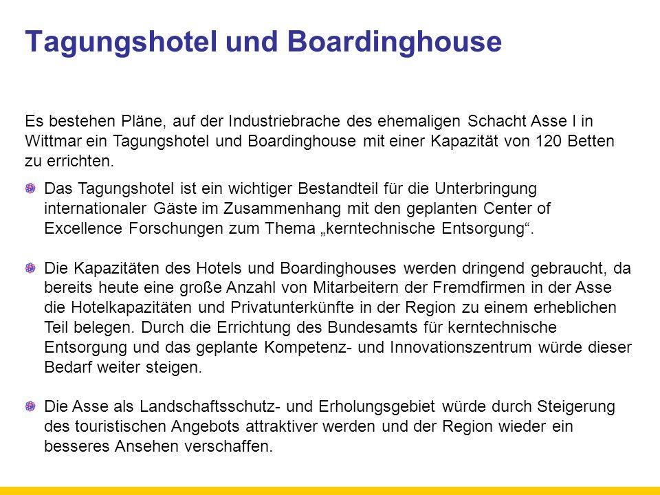 Tagungshotel und Boardinghouse Es bestehen Pläne, auf der Industriebrache des ehemaligen Schacht Asse I in Wittmar ein Tagungshotel und Boardinghouse