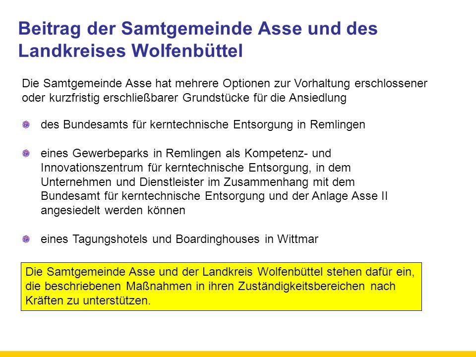 Beitrag der Samtgemeinde Asse und des Landkreises Wolfenbüttel des Bundesamts für kerntechnische Entsorgung in Remlingen eines Gewerbeparks in Remling