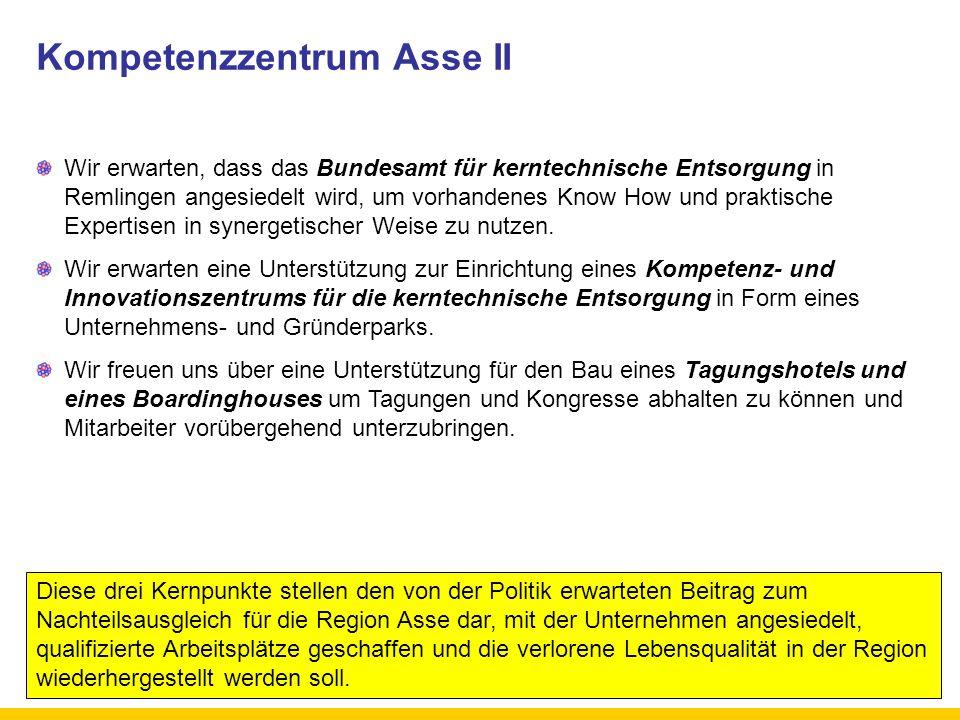 Kompetenzzentrum Asse II Wir erwarten, dass das Bundesamt für kerntechnische Entsorgung in Remlingen angesiedelt wird, um vorhandenes Know How und pra