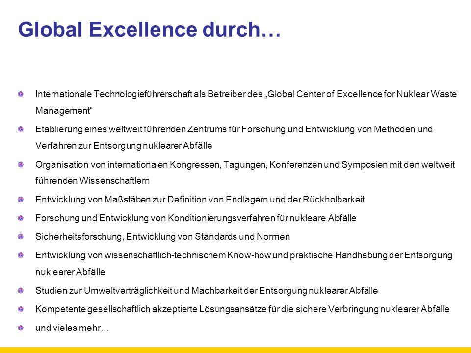 Global Excellence durch… Internationale Technologieführerschaft als Betreiber des Global Center of Excellence for Nuklear Waste Management Etablierung