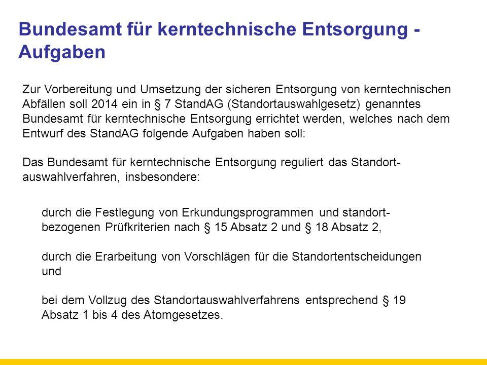Bundesamt für kerntechnische Entsorgung - Aufgaben Zur Vorbereitung und Umsetzung der sicheren Entsorgung von kerntechnischen Abfällen soll 2014 ein i