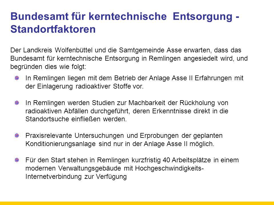 Bundesamt für kerntechnische Entsorgung - Standortfaktoren Der Landkreis Wolfenbüttel und die Samtgemeinde Asse erwarten, dass das Bundesamt für kernt