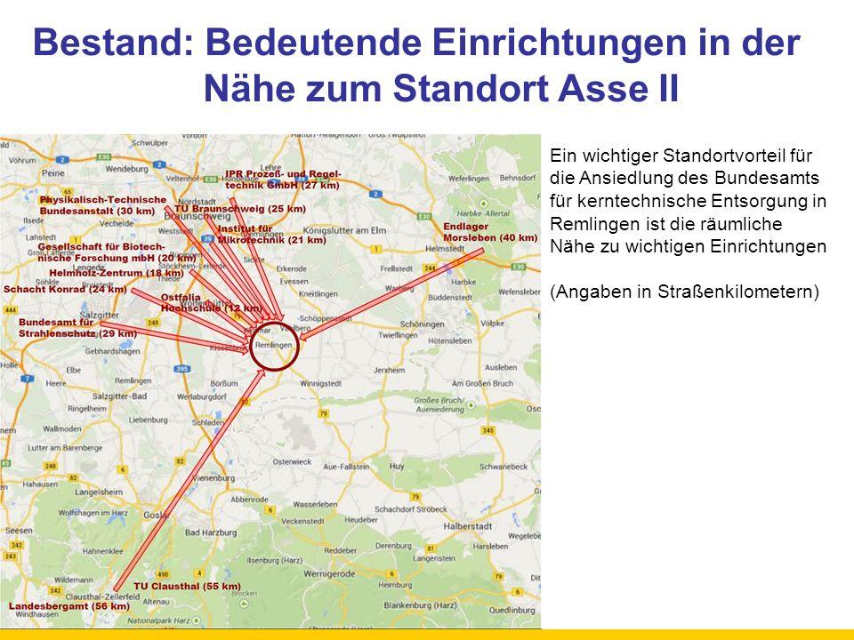 Bestand: Bedeutende Einrichtungen in der Nähe zum Standort Asse II Ein wichtiger Standortvorteil für die Ansiedlung des Bundesamts für kerntechnische