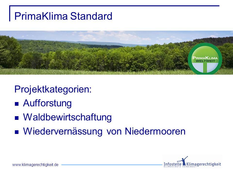 www.klimagerechtigkeit.de PrimaKlima Standard Projektkategorien: Aufforstung Waldbewirtschaftung Wiedervernässung von Niedermooren