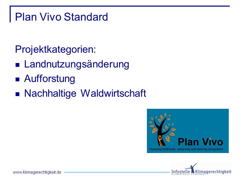 www.klimagerechtigkeit.de Plan Vivo Standard Projektkategorien: Landnutzungsänderung Aufforstung Nachhaltige Waldwirtschaft