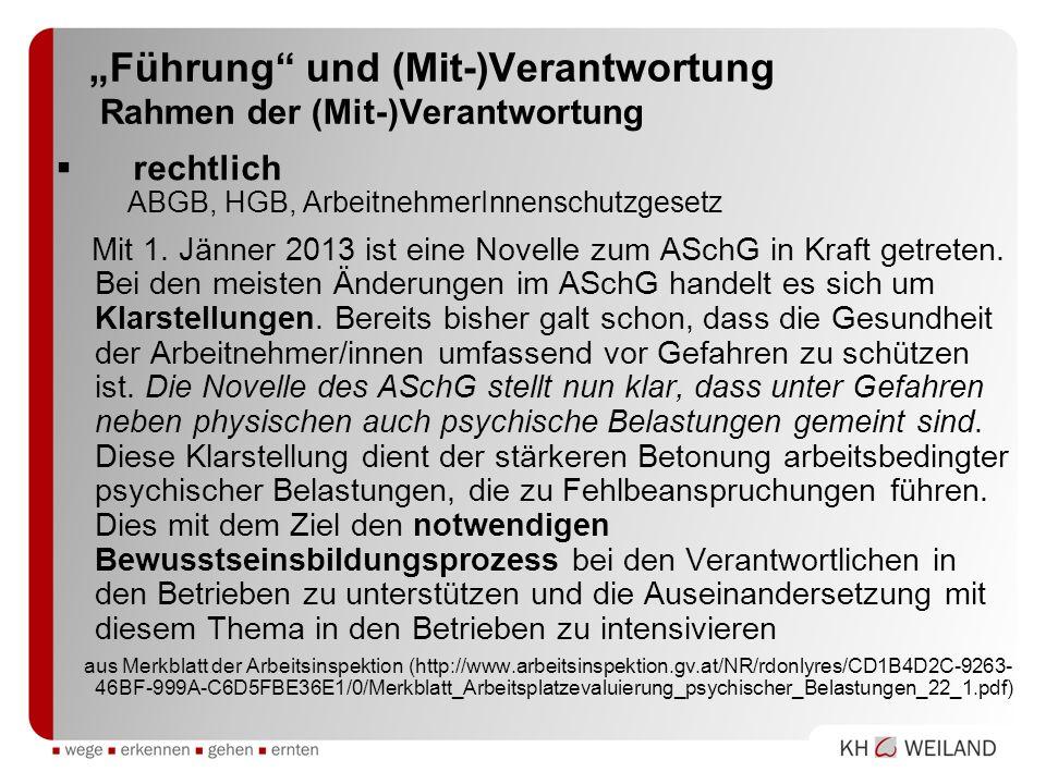 Führung und (Mit-)Verantwortung Rahmen der (Mit-)Verantwortung rechtlich ABGB, HGB, ArbeitnehmerInnenschutzgesetz Mit 1. Jänner 2013 ist eine Novelle