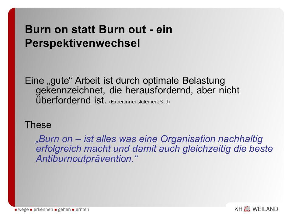 Burn on statt Burn out - ein Perspektivenwechsel Eine gute Arbeit ist durch optimale Belastung gekennzeichnet, die herausfordernd, aber nicht überford