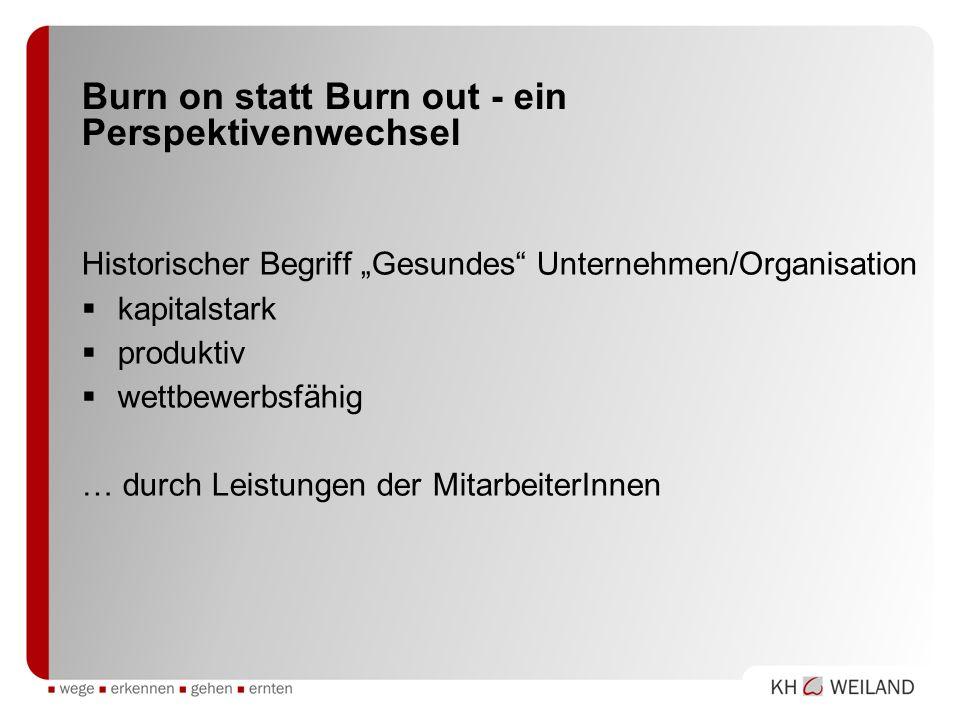 Burn on statt Burn out - ein Perspektivenwechsel Historischer Begriff Gesundes Unternehmen/Organisation kapitalstark produktiv wettbewerbsfähig … durc