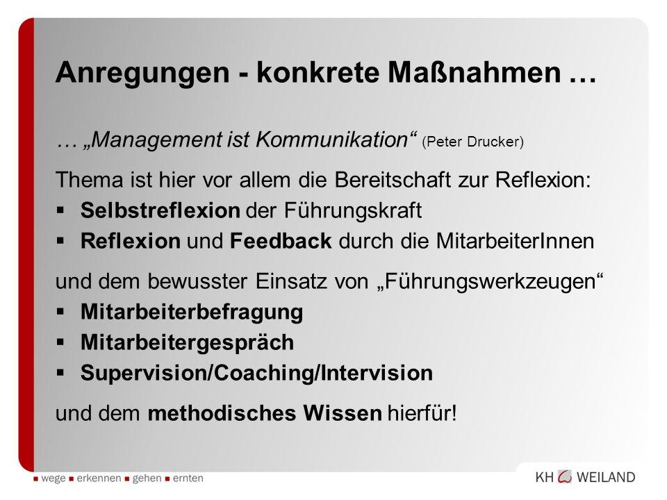 Anregungen - konkrete Maßnahmen … … Management ist Kommunikation (Peter Drucker) Thema ist hier vor allem die Bereitschaft zur Reflexion: Selbstreflex
