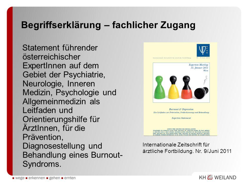 Begriffserklärung – fachlicher Zugang Statement führender österreichischer ExpertInnen auf dem Gebiet der Psychiatrie, Neurologie, Inneren Medizin, Ps