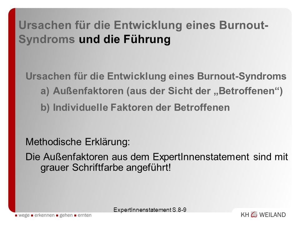 ExpertInnenstatement S.8-9 Ursachen für die Entwicklung eines Burnout- Syndroms und die Führung Ursachen für die Entwicklung eines Burnout-Syndroms a)