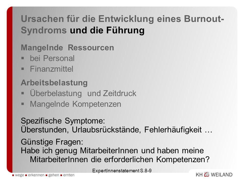 ExpertInnenstatement S.8-9 Ursachen für die Entwicklung eines Burnout- Syndroms und die Führung Mangelnde Ressourcen bei Personal Finanzmittel Arbeits