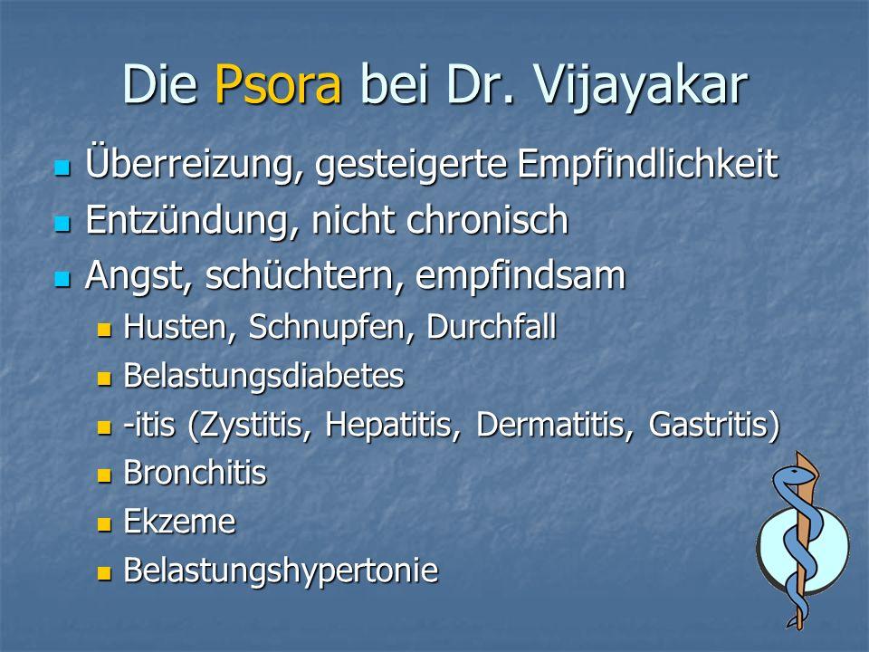 Die Psora bei Dr. Vijayakar Überreizung, gesteigerte Empfindlichkeit Überreizung, gesteigerte Empfindlichkeit Entzündung, nicht chronisch Entzündung,