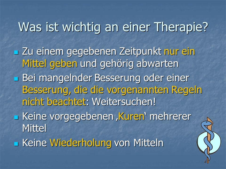 Was ist wichtig an einer Therapie? Zu einem gegebenen Zeitpunkt nur ein Mittel geben und gehörig abwarten Zu einem gegebenen Zeitpunkt nur ein Mittel