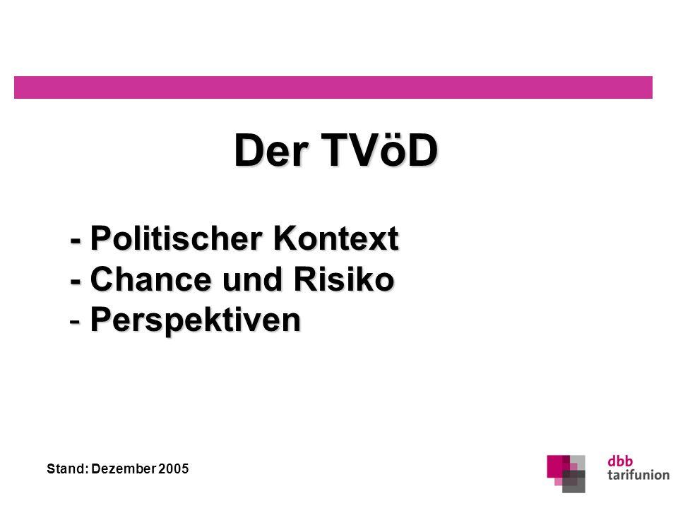 Stand: Dezember 2005 TVöD – Kontext, Chance & Risiko, Perspektiven 11 Entwicklung im Öffentlichen Dienst Personalentwicklung im Öffentlichen Dienst: