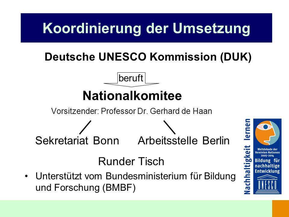 Koordinierung der Umsetzung beruft Nationalkomitee Vorsitzender: Professor Dr. Gerhard de Haan Sekretariat Bonn Arbeitsstelle Berlin Runder Tisch Unte