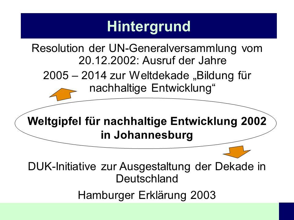 Hintergrund Resolution der UN-Generalversammlung vom 20.12.2002: Ausruf der Jahre 2005 – 2014 zur Weltdekade Bildung für nachhaltige Entwicklung Weltg