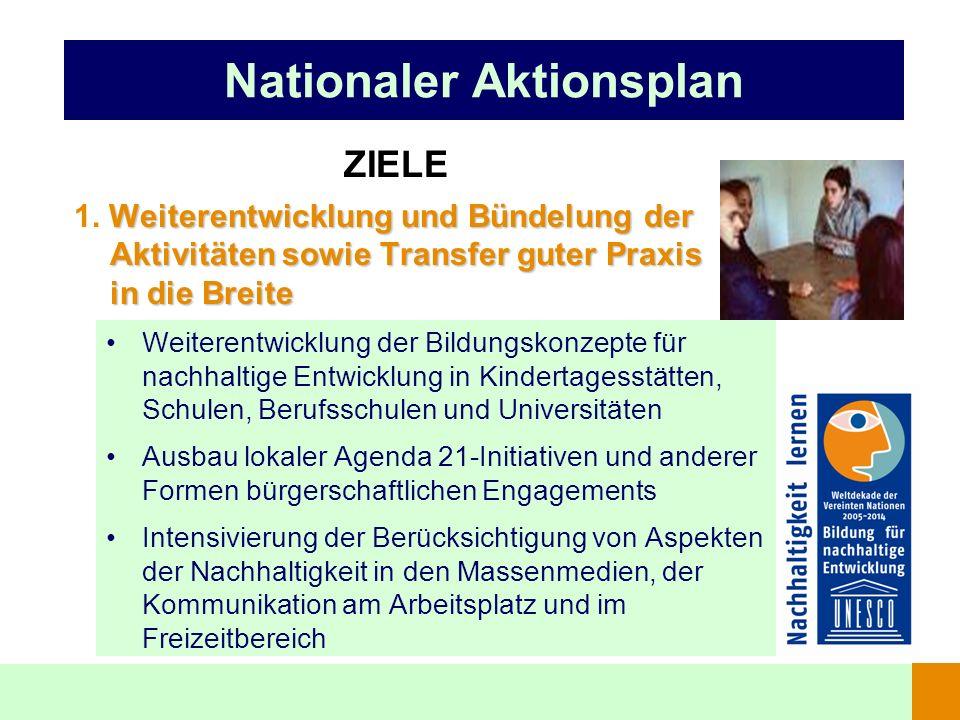 Nationaler Aktionsplan ZIELE Weiterentwicklung und Bündelung der Aktivitäten sowie Transfer guter Praxis in die Breite 1. Weiterentwicklung und Bündel