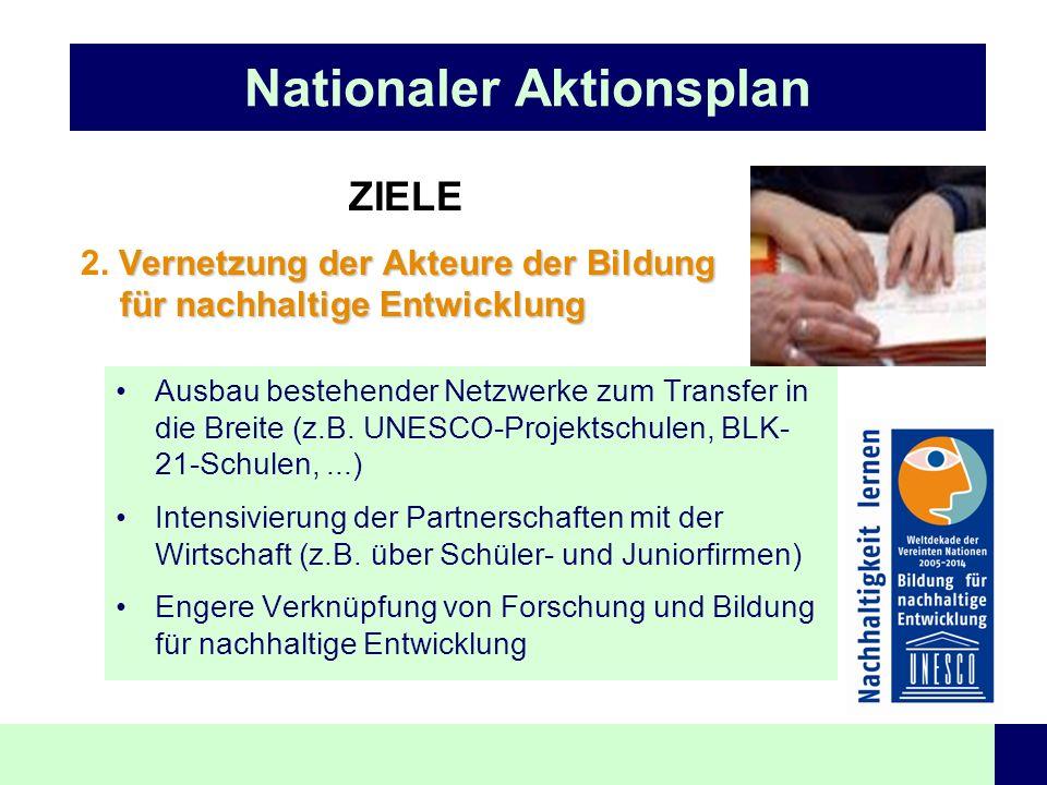 Nationaler Aktionsplan ZIELE Vernetzung der Akteure der Bildung für nachhaltige Entwicklung 2. Vernetzung der Akteure der Bildung für nachhaltige Entw