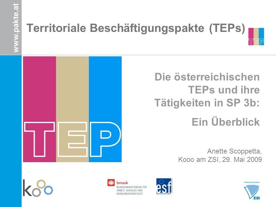 Territoriale Beschäftigungspakte (TEPs) Die österreichischen TEPs und ihre Tätigkeiten in SP 3b: Ein Überblick Anette Scoppetta, Kooo am ZSI, 29.