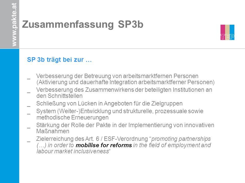 Zusammenfassung SP3b SP 3b trägt bei zur … _Verbesserung der Betreuung von arbeitsmarktfernen Personen (Aktivierung und dauerhafte Integration arbeits