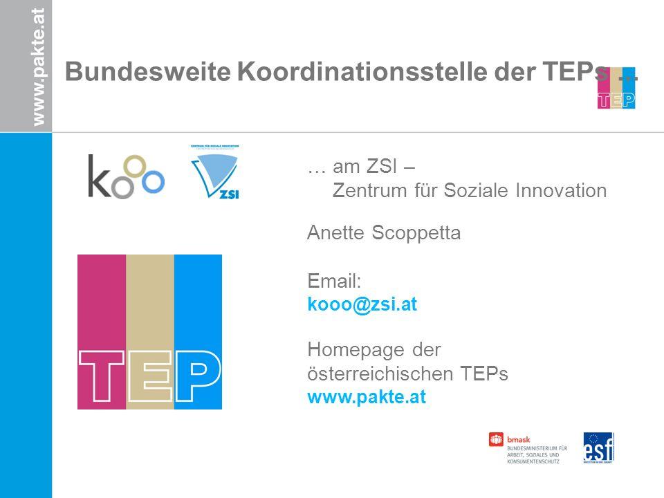 Bundesweite Koordinationsstelle der TEPs... … am ZSI – Zentrum für Soziale Innovation Anette Scoppetta Email: kooo@zsi.at Homepage der österreichische