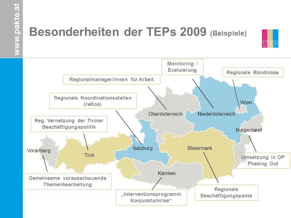 Besonderheiten der TEPs 2009 (Beispiele) Tirol Burgenland Vorarlberg Salzburg OberösterreichNiederösterreich Steiermark Kärnten Wien Regionalmanager/innen für Arbeit Monitoring / Evaluierung Interventionsprogramm Konjunkturkrise Umsetzung in OP Phasing Out Regionale Koordinationsstellen (reKos) Reg.