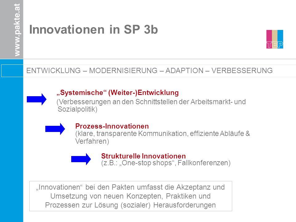 Innovationen in SP 3b Systemische (Weiter-)Entwicklung (Verbesserungen an den Schnittstellen der Arbeitsmarkt- und Sozialpolitik) Prozess-Innovationen
