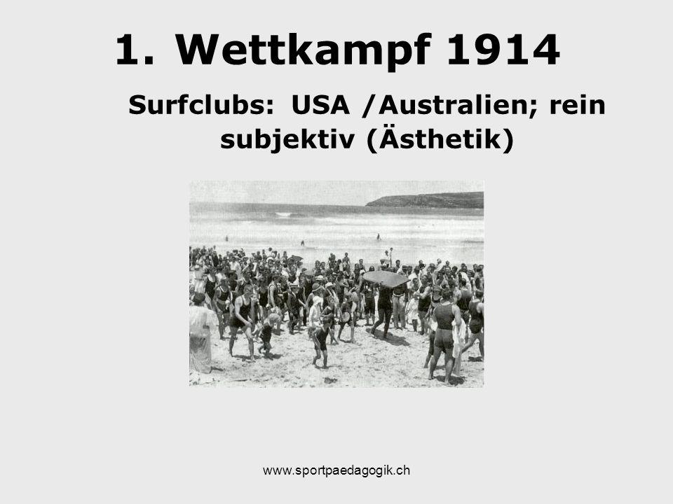 www.sportpaedagogik.ch 1.Wettkampf 1914 Surfclubs: USA /Australien; rein subjektiv (Ästhetik)