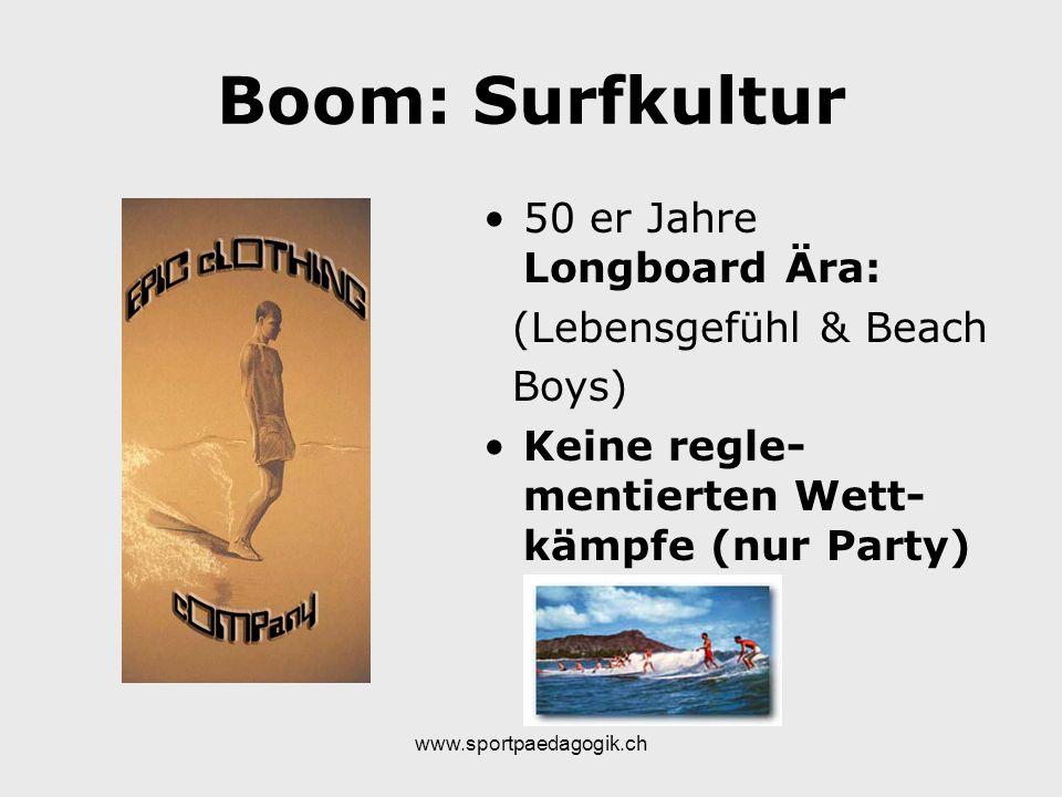 www.sportpaedagogik.ch Boom: Surfkultur 50 er Jahre Longboard Ära: (Lebensgefühl & Beach Boys) Keine regle- mentierten Wett- kämpfe (nur Party)