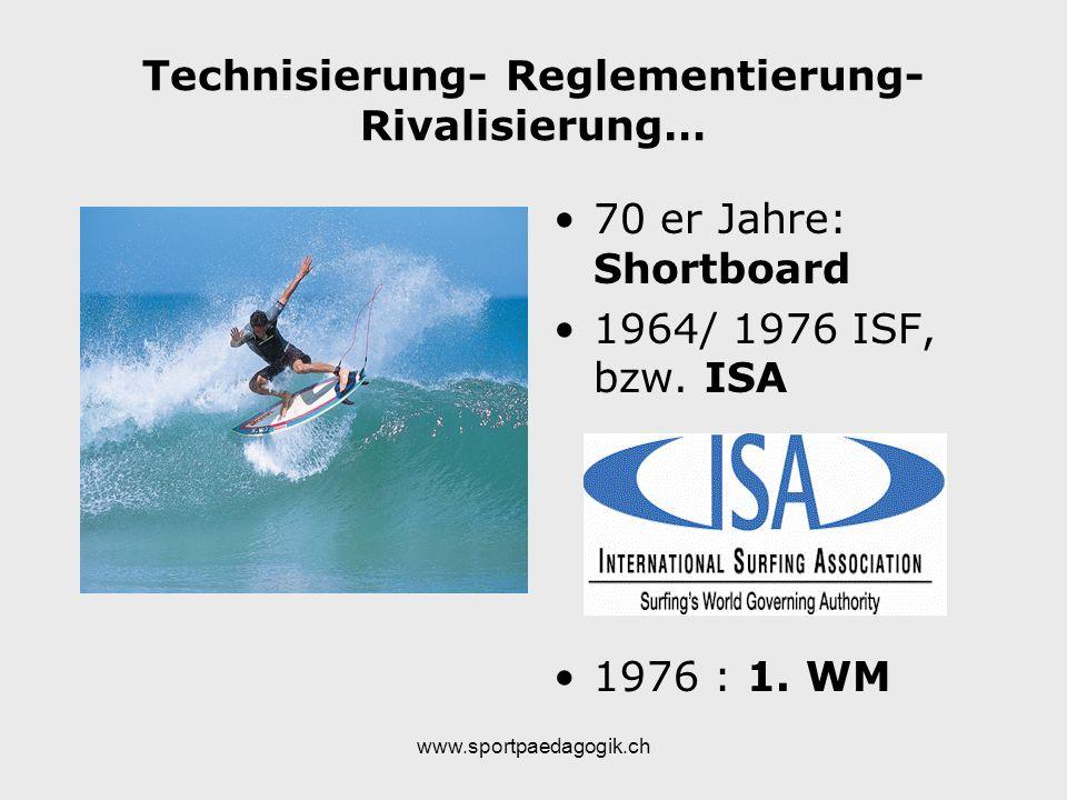 www.sportpaedagogik.ch Technisierung- Reglementierung- Rivalisierung… 70 er Jahre: Shortboard 1964/ 1976 ISF, bzw. ISA 1976 : 1. WM