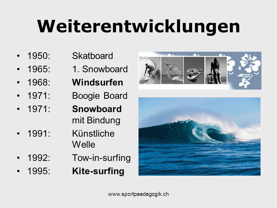 www.sportpaedagogik.ch Weiterentwicklungen 1950:Skatboard 1965:1. Snowboard 1968:Windsurfen 1971:Boogie Board 1971:Snowboard mit Bindung 1991:Künstlic