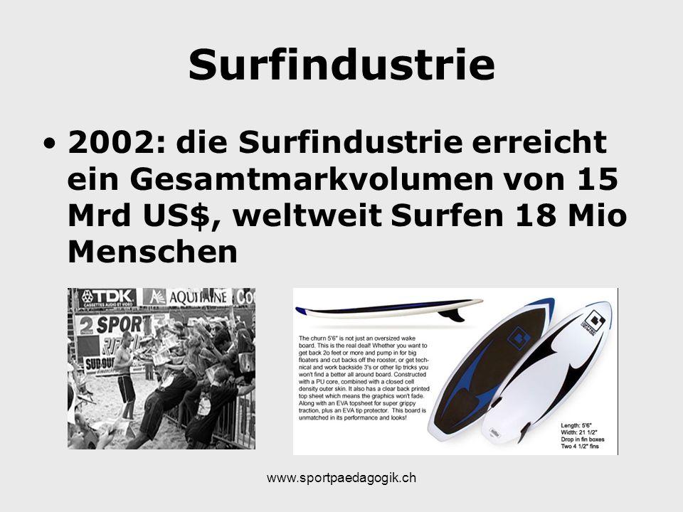 www.sportpaedagogik.ch Surfindustrie 2002: die Surfindustrie erreicht ein Gesamtmarkvolumen von 15 Mrd US$, weltweit Surfen 18 Mio Menschen