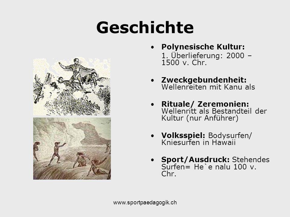 www.sportpaedagogik.ch Geschichte Polynesische Kultur: 1. Überlieferung: 2000 – 1500 v. Chr. Zweckgebundenheit: Wellenreiten mit Kanu als Rituale/ Zer