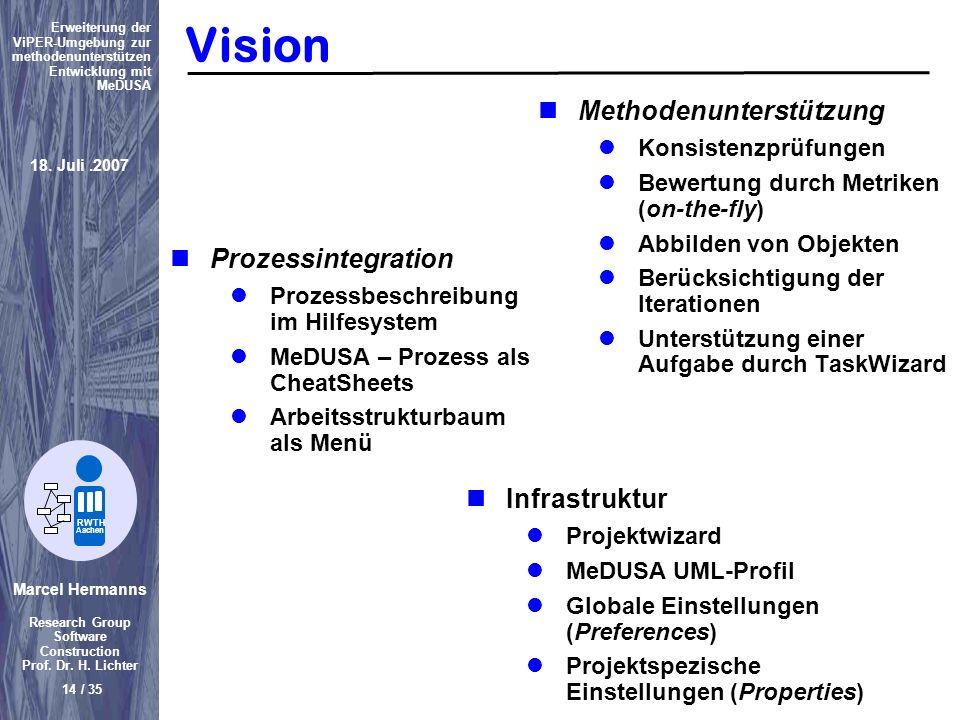 Marcel Hermanns Research Group Software Construction Prof. Dr. H. Lichter 14 / 35 Erweiterung der ViPER-Umgebung zur methodenunterstützen Entwicklung